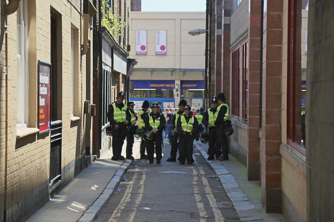 Loved the stance of the Police as they blocked an alley separating EDL and Anti-EDL supporters.